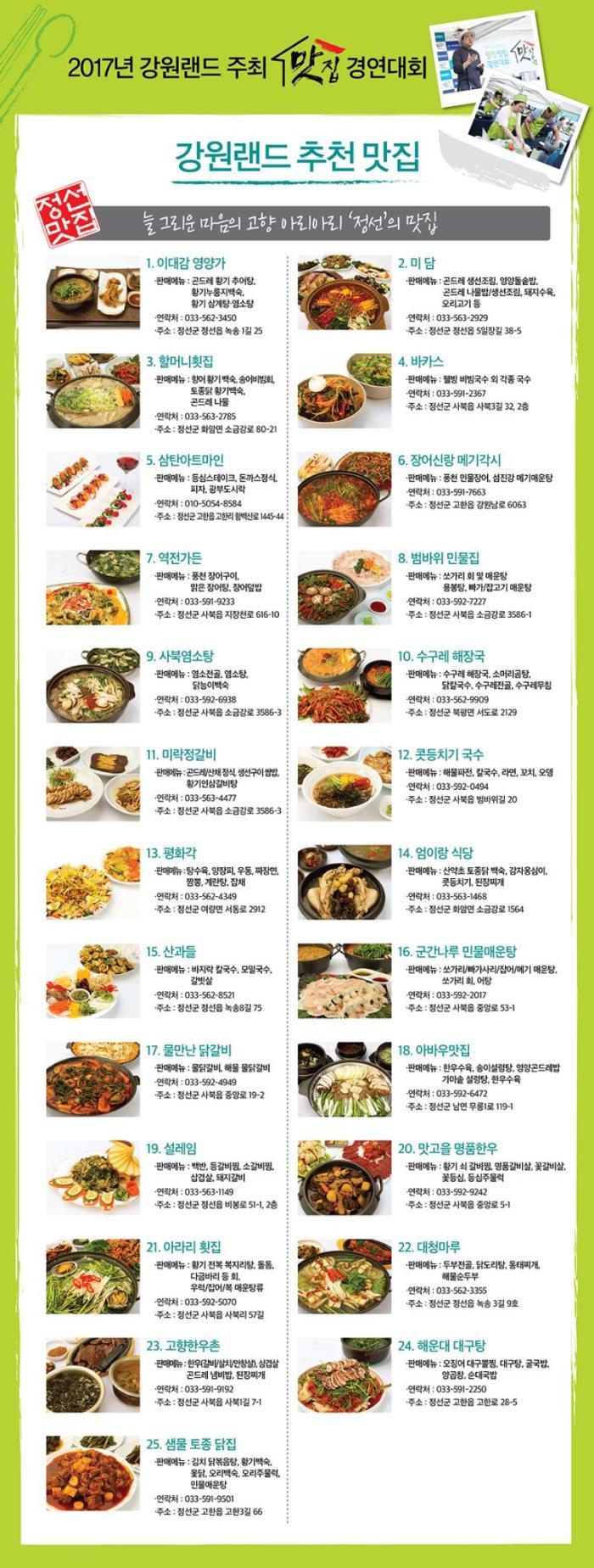 강원랜드 추천맛집 170724